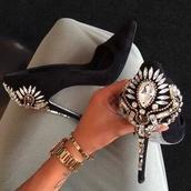 shoes,high heels,black heels,diamonds