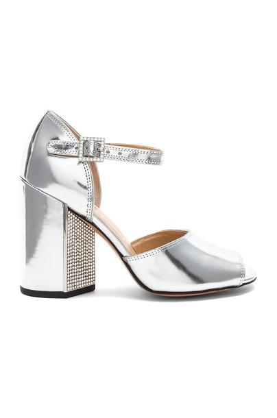 Marc Jacobs heel metallic silver shoes