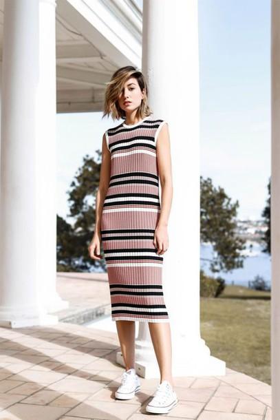 dress Midi summer knit dress knitted dress midi dress striped dress  sneakers white sneakers white converse 6d3947597
