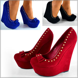 New Spike Studded Suede Platform Bow Front High Heel Wedge Shoes Pump 3 Colours | eBay