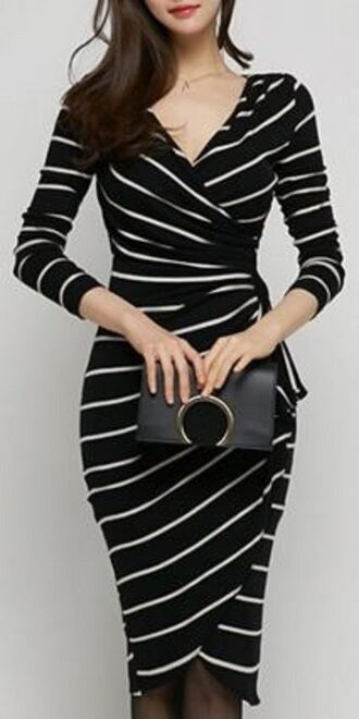 dress black dress black and white long dress long sleeve dress stripes striped dress v neck dress black bag clutch cross over dress glamour casual dress