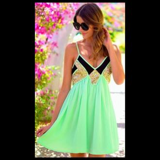 green neon green neon green dress gold glitter glitter v-neck dress