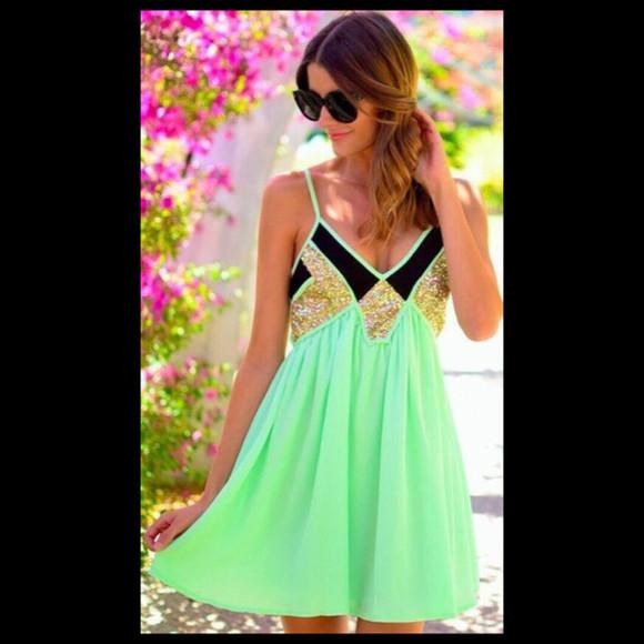 glitter neon green neon green dress green gold glitter V-neck dress
