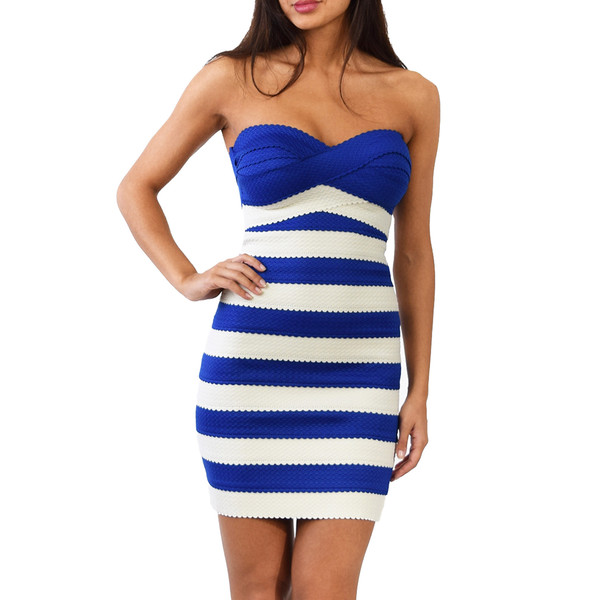 Lilly navy and white stripe dress