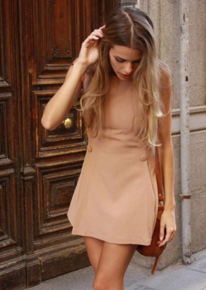 tan dress short dress bottons casual