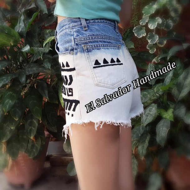 shorts High waisted shorts high waisted jeans bleached shorts acid wash jeans tribal pattern tribal shorts aztec aztec short blue shorts