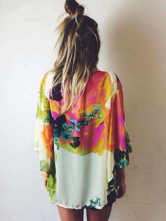 blouse rainbow flowers robe kimono artsy cardigan colorful colourful kimono girl blonde hair