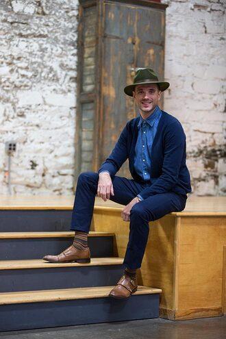 he spoke style blogger cardigan jewels belt socks menswear mens shoes denim shirt mens fedora mens derby shoes