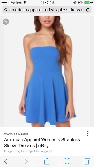 dress blue dress american apparel strapless dress