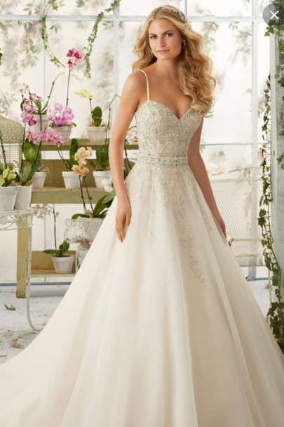 Dress Wedding Lace Nude Off White Long Train Sparkle