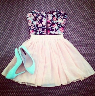 shirt high heels turquoise bue flowers floral white white skirt skirt shoes