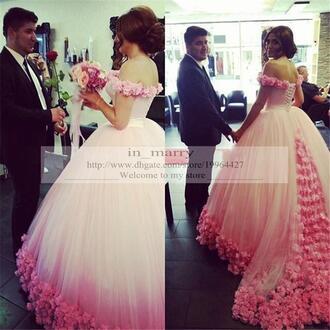 dress victorian dress pink wedding dress wedding dress with flowers arabic wedding dress the middle east dress quinceanera gown ball gown wedding dresses off the shoulder dress princess wedding dresses