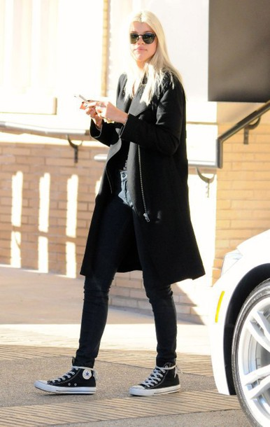 sofia richie fall outfits black coat