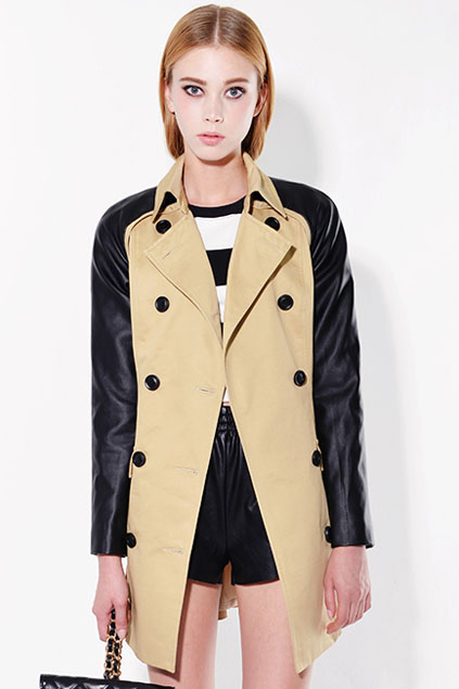 ROMWE | Double-breasted Belted Khaki Panel Trench Coat, The Latest Street Fashion