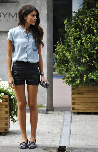 blouse light denim short sleeve black leather shorts shoes shirt high waisted shorts women's black studded  loafers/ smoking shoes.
