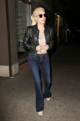 jacket jeans flare jeans fall outfits lady gaga