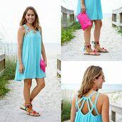 dress,turquoise,short dress,light blue,aqua,casual,casual dress,escloset