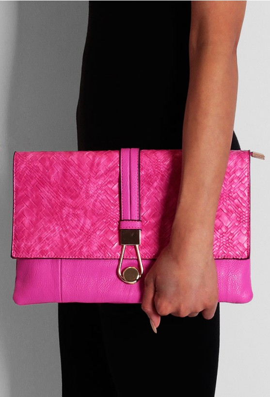 Balham Pink Snakeskin Effect Clutch Bag | Pink Boutique