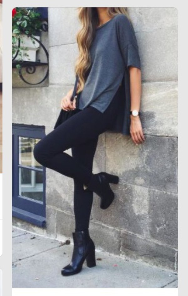 Black leggings and boots outfit