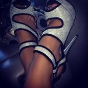 shoes,platform shoes,silver shoes,high heels,prom shoes,glitter heel shoes,open toes,sparkle,diamanté,black strap,high