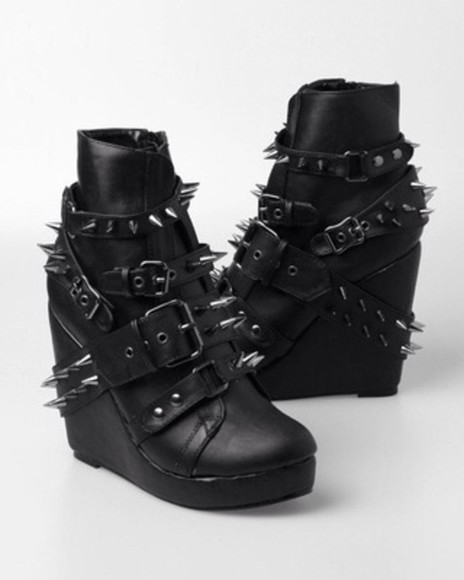 shoes studs spikes boots leather goth booties buckles