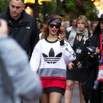 shirt rihanna sunglasses bandana print adidas ring lipstick scarf red lipstick jumper oversized sweater sweater