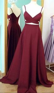 dress,burgundy dress,prom dress,long,cut-out dress,red dress,long dress,maroon/burgundy,cross,v neck dress,formal dress