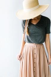 skirt,pink,button up skirt,midi skirt
