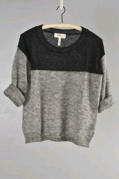 sweater minimalist tumblr sweater rolled sleeves luxury grey sweater