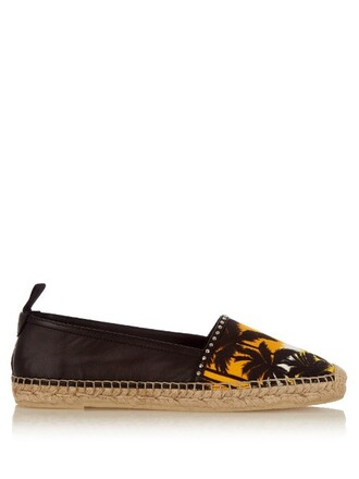 espadrilles leather print black shoes