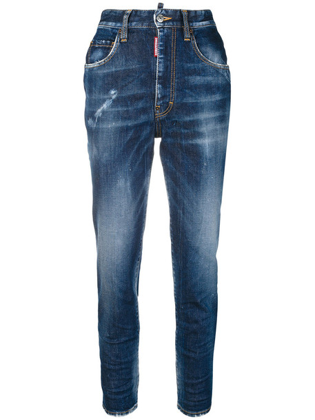 Dsquared2 - cropped twiggy jeans - women - Cotton/Spandex/Elastane/Polyester - 42, Blue, Cotton/Spandex/Elastane/Polyester