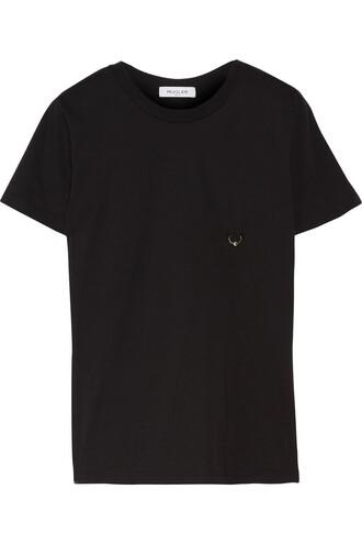 t-shirt shirt embellished cotton black top