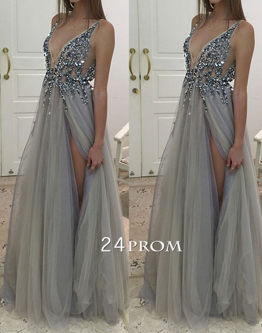 Gray A-line v neck tulle long prom dress, evening dress - 24prom