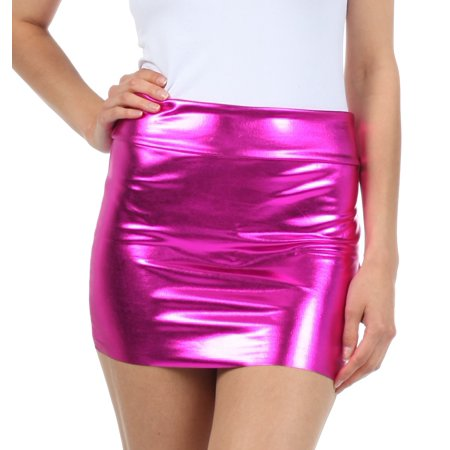 Sakkas Women's Shiny Metallic Liquid Mini Skirt - Pink - Large - Walmart.com