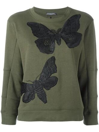 sweatshirt embroidered women cotton green sweater