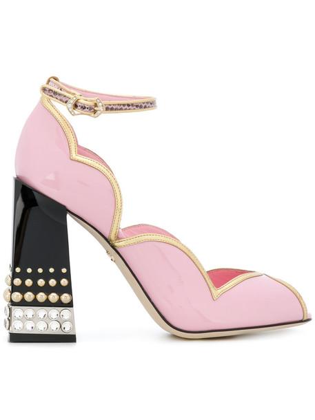 Dolce & Gabbana heel d'orsay pumps women pumps leather purple pink shoes