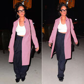 coat,pants,crop tops,fall outfits,pink coat,rihanna,sneakers,glasses,shoes,bag