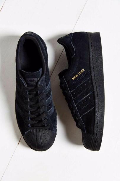 adidas superstar black new york
