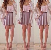 tank top,crop tops,skirt,top,cardigan,jacket,purple skirt,skater skirt,pink lace,lace,blouse,jewels,shoes,shirt,sweater,fashion,white blouse,dress,pink top grey skirt triangle necklace cardigan,cute,high heels,pretty,knitwear,blush heels,pink blouse,ruffled top,pink top