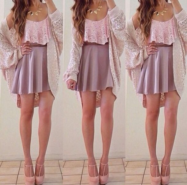 Tank Top Crop Tops Skirt Top Cardigan Jacket Purple Skirt Skater Skirt Pink Lace Lace ...