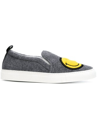 women smiley sneakers leather wool grey shoes