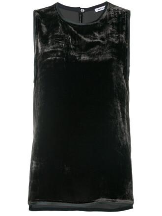 women black silk velvet top
