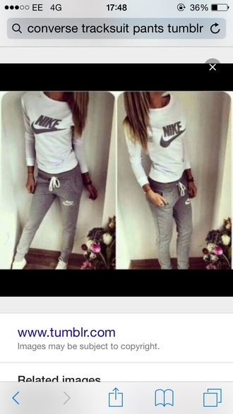 pants grey sweatpants white t-shirt grey logo nike tumblr outfit outfit