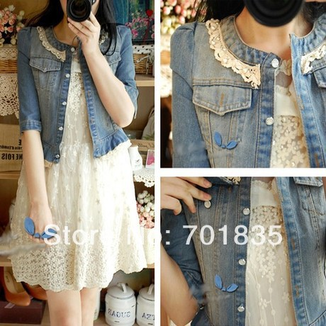 new 2014 spring jaqueta women vintage lace decoration slim denim short jacket top blue jean jackets women free shipping-inBasic Jackets from Apparel & Accessories on Aliexpress.com