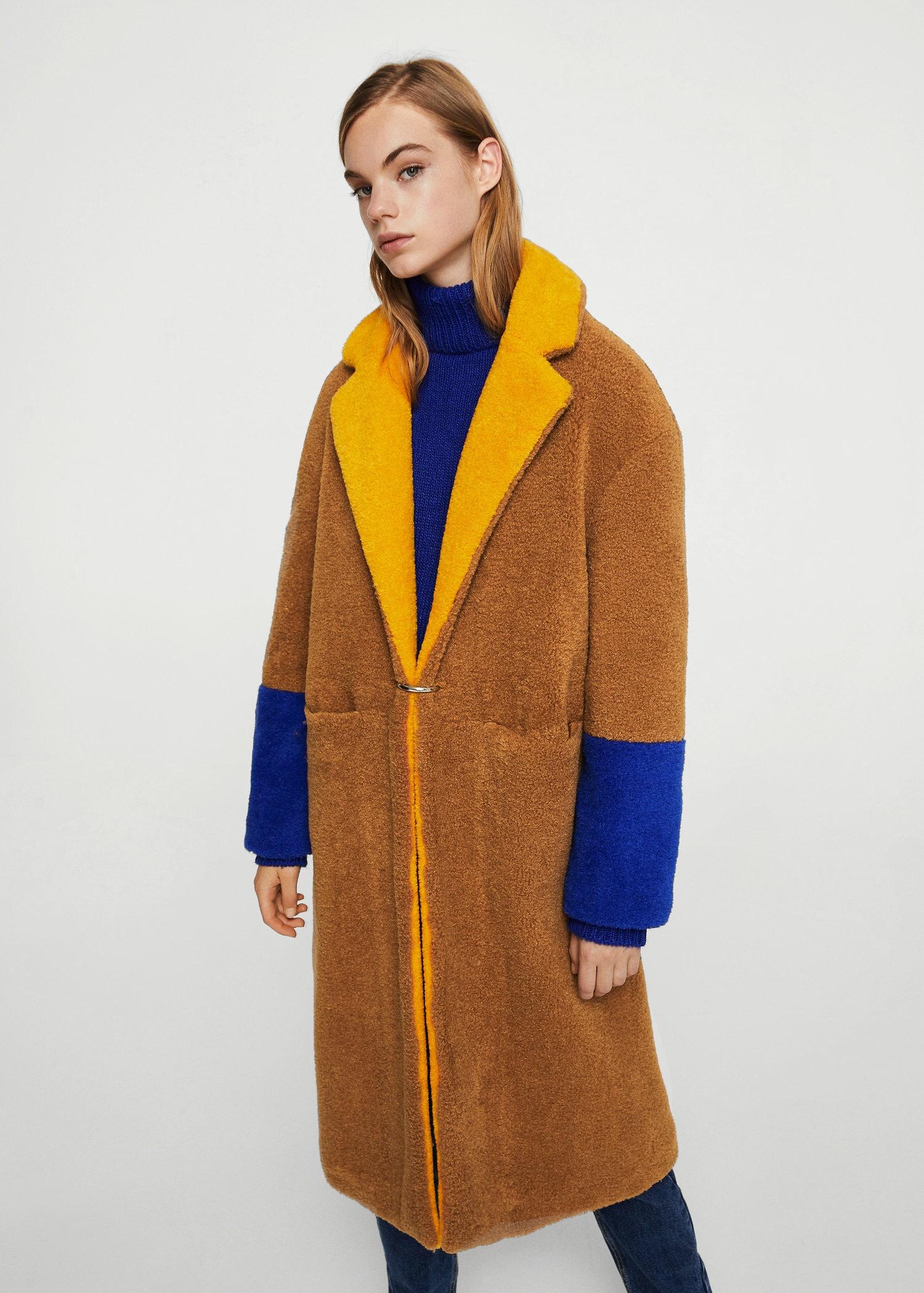 Neuankömmling Fabrik Kunden zuerst Kontrastierender kunstfell-mantel - Damen | MANGO Deutschland
