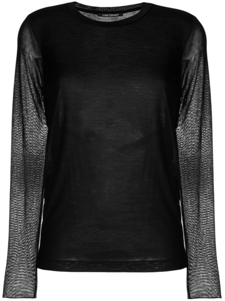 Luisa Cerano top sheer women cotton black