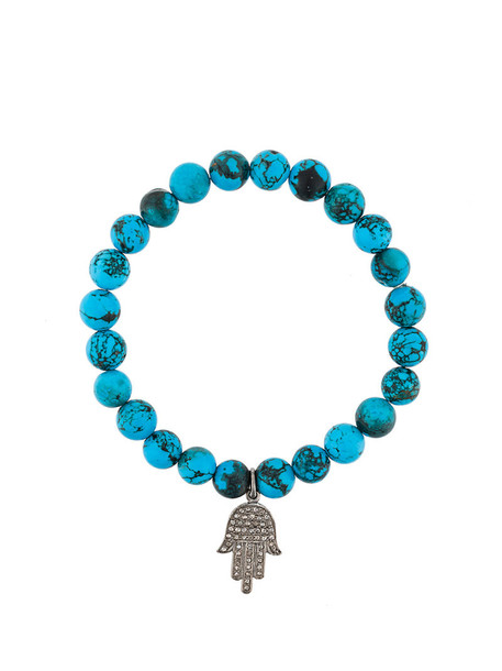 Gemco women beaded charm bracelet silver blue turquoise jewels