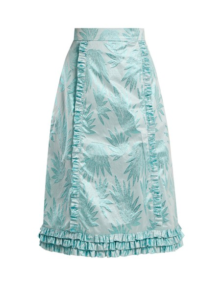 THE VAMPIRE'S WIFE skirt ruffle jacquard print blue