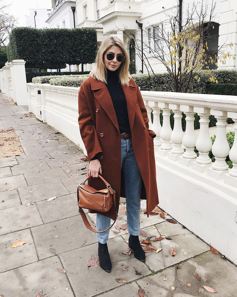 coat tumblr brown coat oversized oversized coat denim jeans blue jeans boots black boots bag brown bag sunglasses top black top turtleneck black turtleneck top