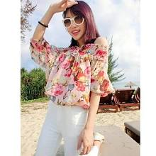 Women's Flower Print off The Shoulder Loose Chiffon Blouse